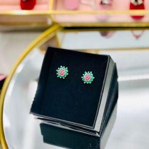 Jewelry - Emerald & Rhodolite Garnet Earrings 18K vermeil
